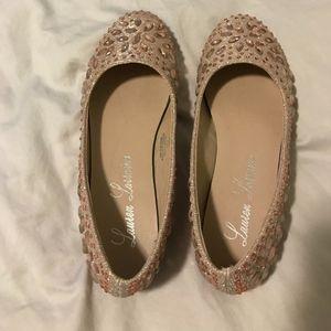 Lauren Lorraine –Embellished Ballet Flat Rose Gold